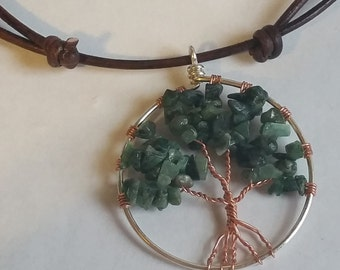 Necklace, Sterling Silver and Copper Tree of Life pendant with EMERALD