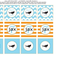 Custom Printable Cupcake Toppers - Shark Party - amy patrick prints