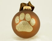 Dog Paw Print Glitter Christmas Ornament - YOUR CHOICE of COLOR - Personalized Pet Doggie Glass Ball - Chocolate Brown and Gold k9 Dog Lover