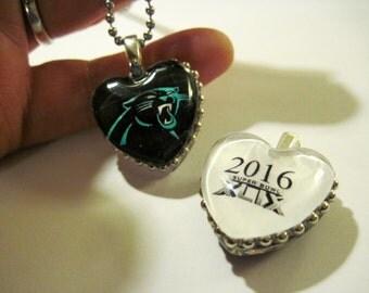 Panthers Pendant Necklace, Carolina Panthers, HEART, Panthers fan, panthers necklace,