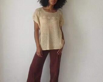 Vintage crochet top Cream crochet top 70s boho tunic