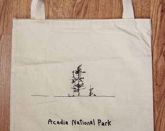 "Canvas Bag ""Acadia National Park"" screen printed illustration"