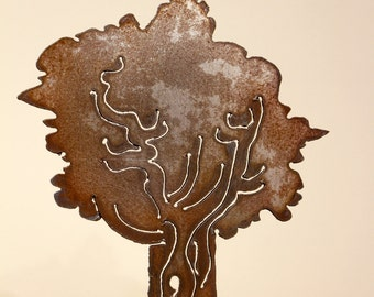 Small tree sculpture, rusted steel
