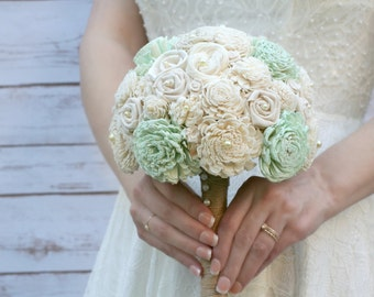 Mint Flower Bouquet // Wedding Bouquet, Mint Green, Bridal Bouquet, Sola Wood, Sola Flower, Burlap, Wedding Flowers, Bridal Flower, Bouquet