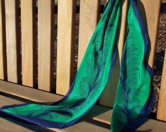 vintage delicate feather print emerald green silk scarf - 80s