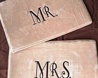 Set of 2 Bath Mats Personalized Wedding Gift Monogrammed Bath Rugs