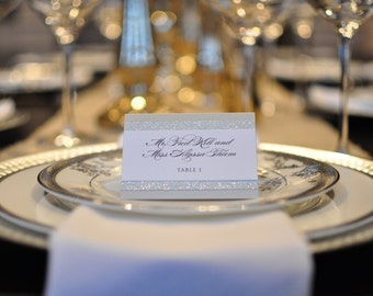 Place Cards - Escort Cards - Glitter - Silver Place Cards - Gold Place Cards
