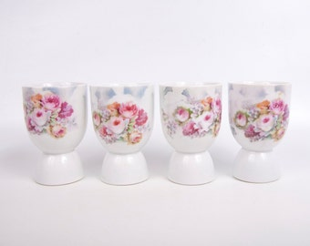 Vintage Germany Double Egg Cups Hand Painted Floral Luster German Porcelain Egg Cup Set of 4 Hand Painted Pastel Floral