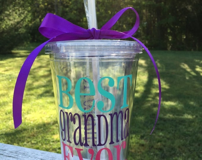 Best Grandma Cup Personalized Tumbler Acrylic Tumbler Cute Mother's Day Gift Colorful Cup 16 oz Tumbler with Lid and Straw Mom Nana Grandma