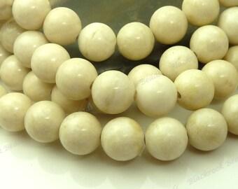 8mm Natural Light Creamy Tan Fossil Stone Round Gemstone Beads - 15.5 Inch Strand - BB19