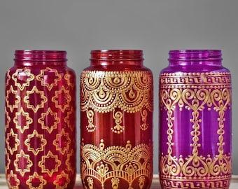 Bohemian Patio Outdoor Lantern, Colorful Mason Jar Lantern,Hand Painted Mason Jar with Mehndi Henna Design