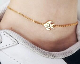 tropical fish anklet, Personalized anklet, initial anklet, Personalized Jewelry, friendship anklet, fish anklet, summer anklet