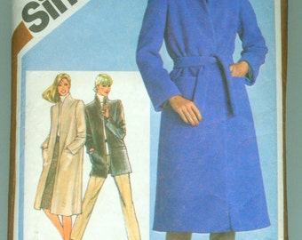 Simplicity 9825 Easy Wrap Coat Jacket Pattern Size 14 from 1980 Vintage