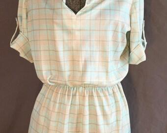 Plus size Vintage Mint and Tan Plaid 80's Dress