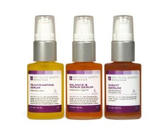 Face Serum Trio - Rejuvenating Serum, Balance & Repair Serum, Night Serum - (3) 1 oz. Serums - Cruelty-free, certified by Leaping Bunny