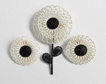 Black White FLOWER Brooch Clip Earrings Vintage Jewelry Set Dandelion Pin Gift For Women