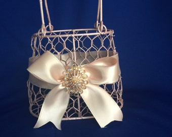 blush flower girl basket purse with blush  ribbon and brooch purse basket for junior bridesmaid