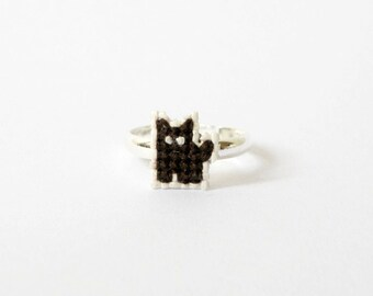 Black cat ring, cat cross stitch ring, gifts for cat lovers, gifts for her, gifts under 20, Coffee the Black Cat