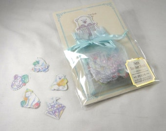 Kawaii Japan Sticker Flakes Assort: Sachet GEM BEAR - Elegant Jewel Stone Crystal Polar Bear Arctic White Cool Gift With Card Pastel R