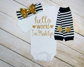 Personalized Baby Girl Gift Hello World Black Gold Glitter Hearts Stripe Headband Leg Warmers Baby Girl Coming Home Outfit Take Home Set