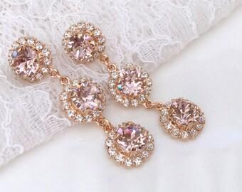 Blush Earrings Pink Blush Pink Bridesmaids Pink Wedding Morganite Pink Swarovski Crystal Rose Gold Blush Bridal Chandelier Halo Earrings