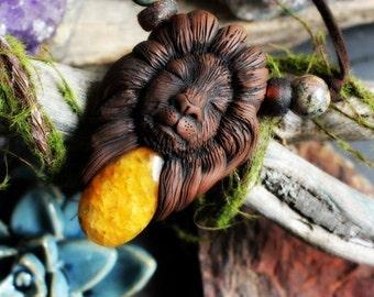 Lion Spirit Animal with Yellow Quartz Gemstone Necklace. Shamanic Animal Totem Necklace