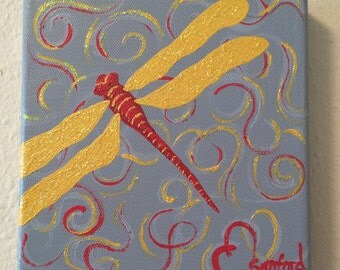 Happiness - Dragonfly with red and gold, acrylic on canvas