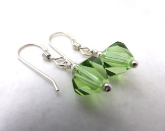 Green Peridot Swarovski crystal earrings. Peridot  and silver: Earrings and Pendant can be bought as a set.