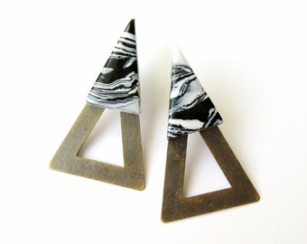Ear Jackets Triangle Marble Brass Geometric Statement Front and Back Earrings FREE UK SHIPPING