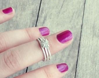 White grey diamond ring, raw diamond ring, promise ring, raw white diamond ring, engagement ring, raw diamond ring, rough diamond, natural