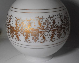 Vintage white and  gold ceiling light  globe, Stunning, mid century light, Hollywood regency