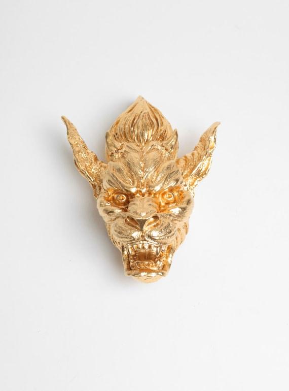 The Mini Damian - Gold Mini Resin Gargoyle Head - Gargoyle Statue - Gothic Midievil Home Decor - Mythical Resin Decor White Faux Taxidermy