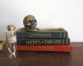 spooky creepy Halloween decor apothecary Haunted house prop, specimin skull display, human skull, bones, spell books, shelf decor