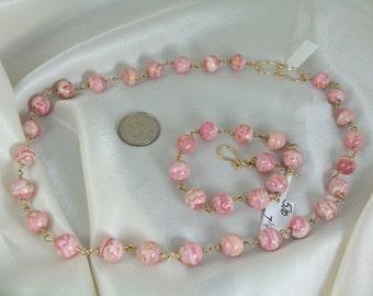 Rhodochrosite set gold filled link gemstone bracelet necklace earrings  handmade item 886
