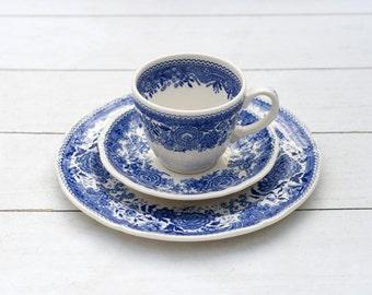 Vintage German Tea Cup and Saucer Trio Set- Blue Cream Country Villeroy and Boch Burgenland