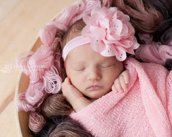 FREE SHIPPING! Pink Baby Headband, Baby Headbands, Pink Headbands, Newborn Headbands, Photography Prop