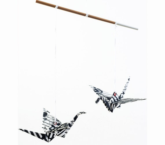 black and white home decor origami cranes mobile by