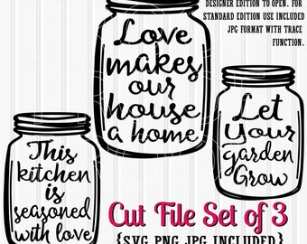 SVG Files Set of 3 cut files mason jar cut files--includes svg, png, and jpg formats! Commercial use ok! Mason Jar SVG files