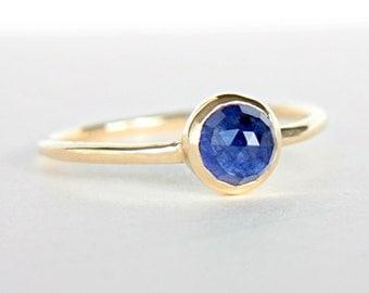 Blue Sapphire Gold Ring 14k Gold Rose Cut Blue Sapphire Gold Ring Made in Your Size Blue Engagement Ring Blue Sapphire Engagement Ring