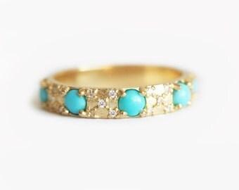 Diamonds And Turquoise Wedding Ring, Turquoise Eternity Wedding Band, Turquoise Diamond Ring, Turquoise Diamond Band, Eternity Wedding Ring