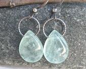 MINT FLUORITE & Sterling Silver Earrings-Green Fluorite Earrings, Dangle Earrings, Gemstone Earrings, Green Earrings, Stone Earrings