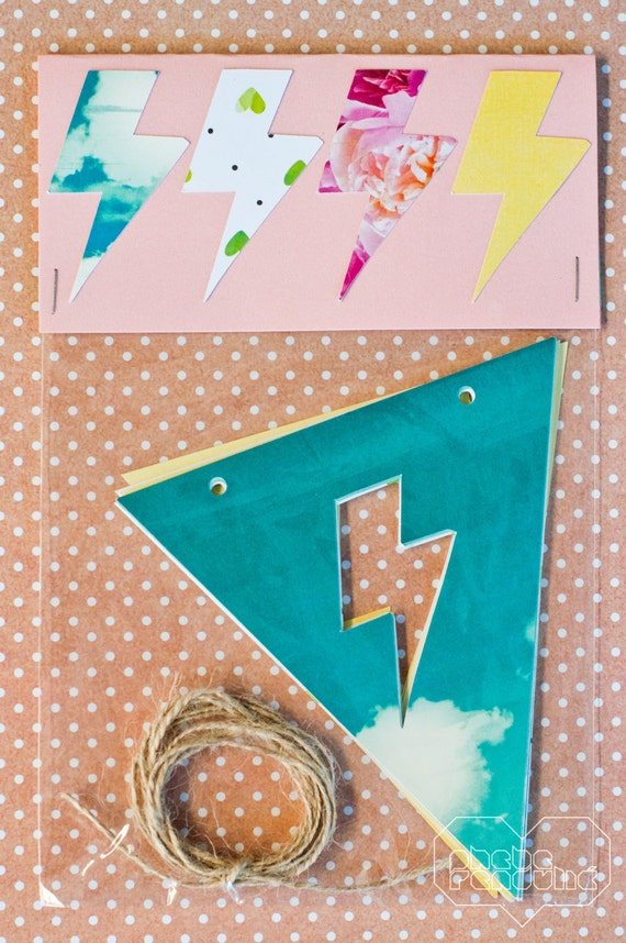 Lightning Bolt Bunting Pack: Yellow, Floral, Aqua Sky and Green Hearts