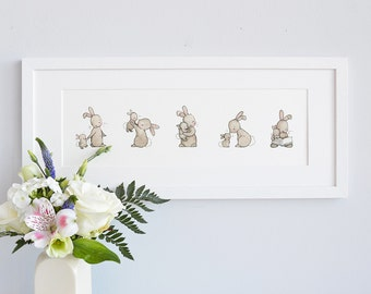 FRAMED Bunny picture, Rabbit illustration, Kid's wall decor, Unisex nursery, Childrens decor, Classic kid's Art, Neutral Nursery, Baby gift