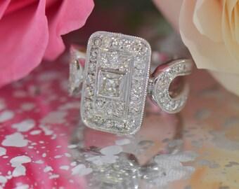 Art Deco-Inspired Rectangular-Shaped Diamond Ring (18K White Gold)
