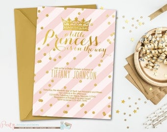 Pink and Gold Baby Shower Invitation, Princess Baby Shower Invitation, Baby Shower Invitation, Blush Pink and Gold Invitation