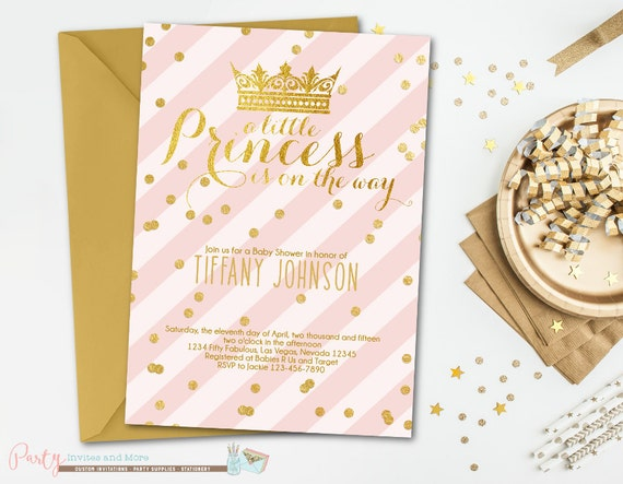 pink and gold baby shower invitation princess baby shower invitation
