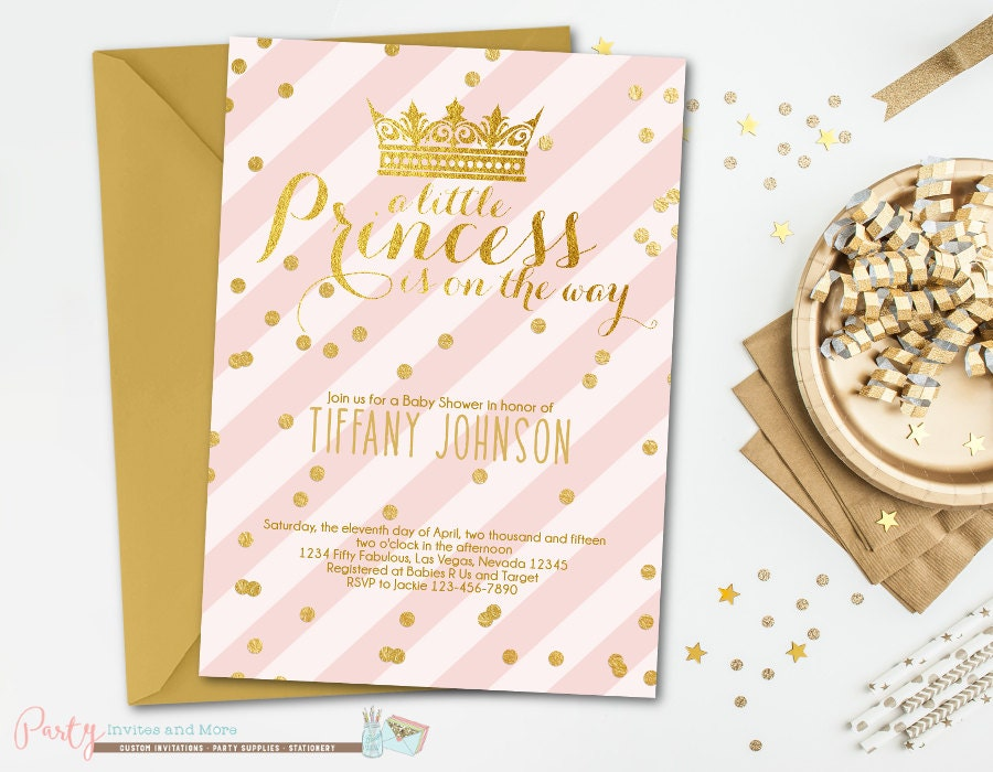 pink and gold baby shower invitation princess baby shower