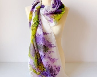 Wisteria silk scarf Hand painted scarves Purple scarf Wisteria scarf Fasionable foulard Grape scarf handpainted Habotai Watercolor scarf