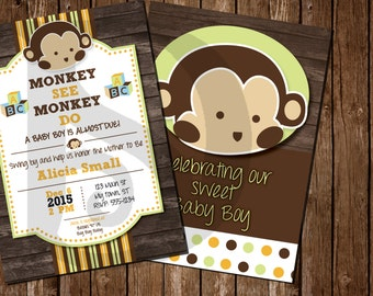 Mod Pod Pop Monkey Baby Shower Invitations Prints / Printable