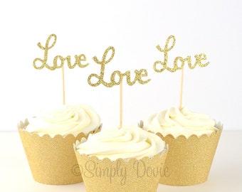 Gold Glitter Love Cupcake Topper, Love Gold Glitter Cupcake Topper, Party Decorations, Wedding